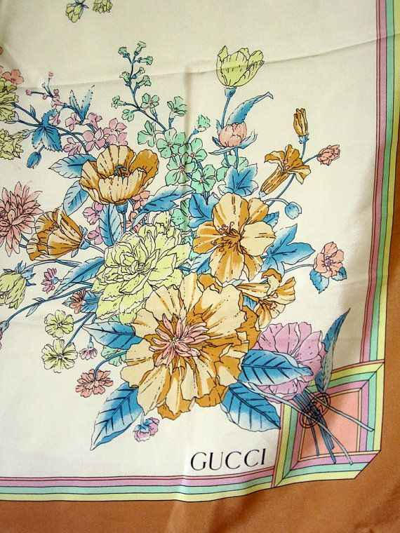 8f934b190cf Vintage GUCCI Scarf / 80's Authentic designer silk   Sjaals ...