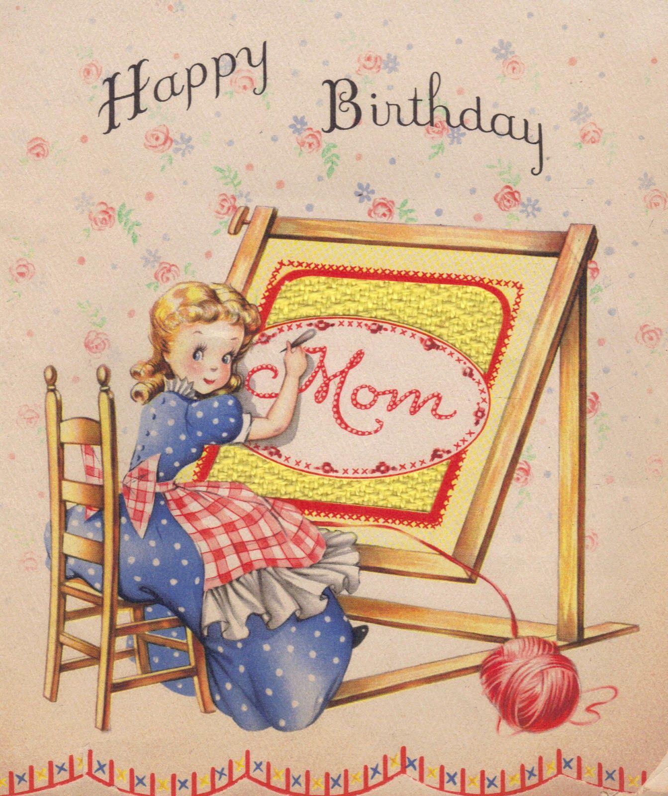 Happy Birthday, Mom ~ Vintage Card (7×7)  Vintage birthday