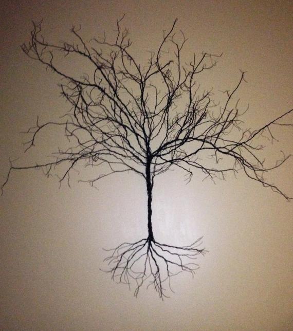 Wire Art Original Handmade 3d Wire Tree Wall Hanging Small Under