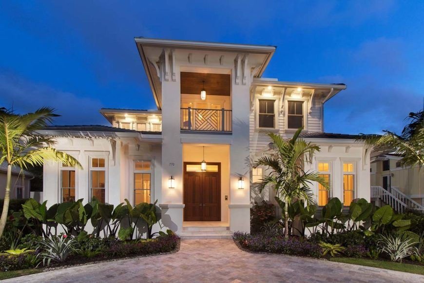 Two Story 4 Bedroom Southern Home with Elevator and Second Floor Balconies Floor Plan