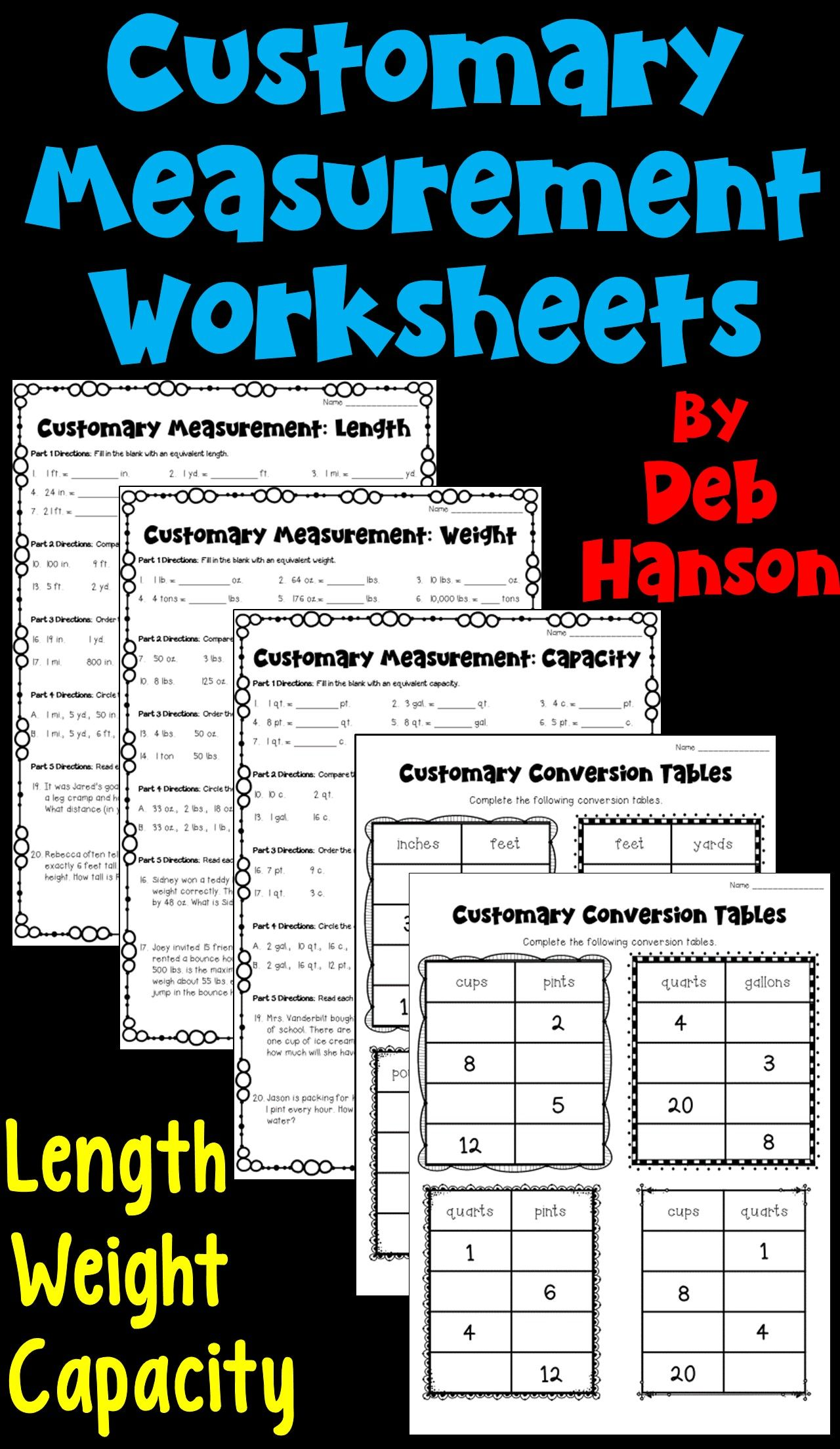 Customary Measurement Worksheet Packet Length Weight