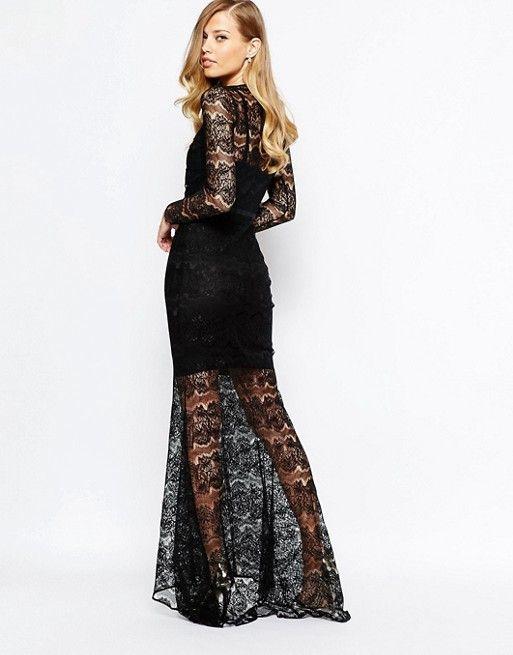 2d1cd7c435f27 Vestido largo de encaje en negro Piper de Body Frock