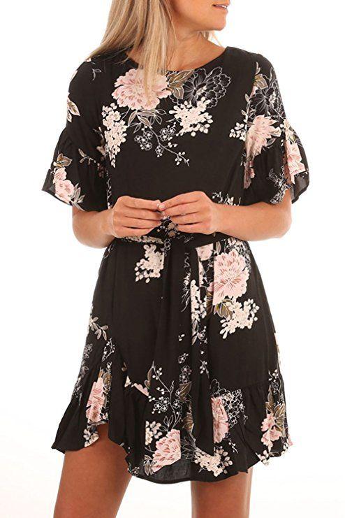 HOTAPEI Womens Plus Size Casual Summer Black Floral Printed Ruffle Hem  Short Sleeve Boho Mini Short