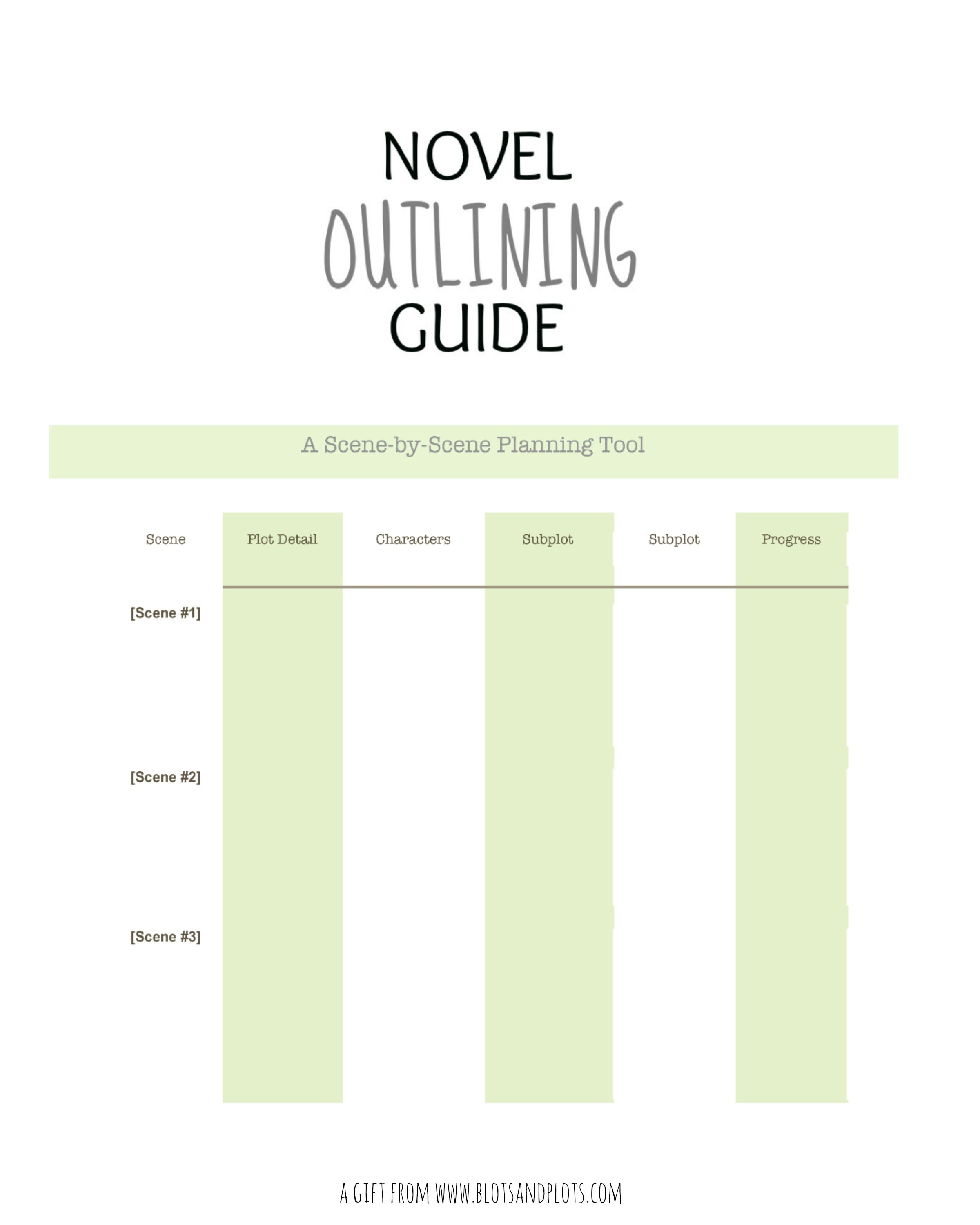 Free Novel Outlining Guide A T For Writers For