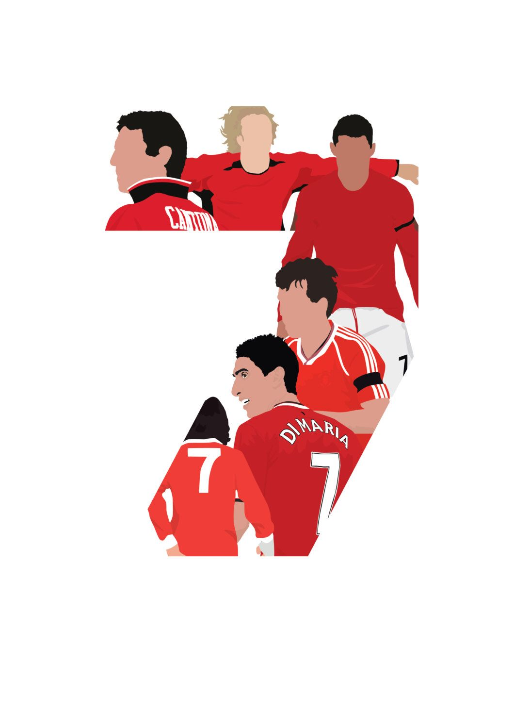 A bold white number seven on the back of a crimson red shirt. Manchester United Number 7 A3 Poster: 297mmx420mm Best ...