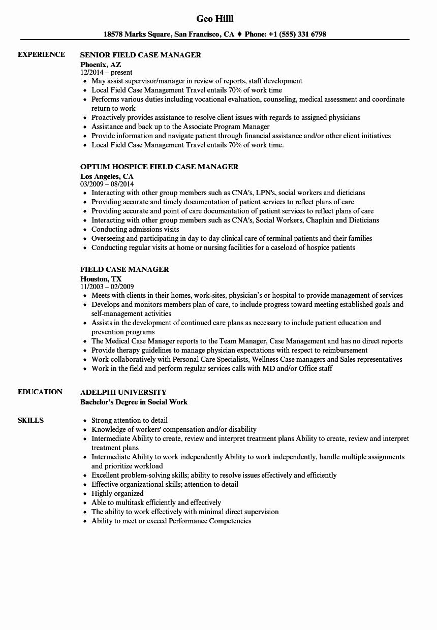 Case manager resume examples fresh field case manager
