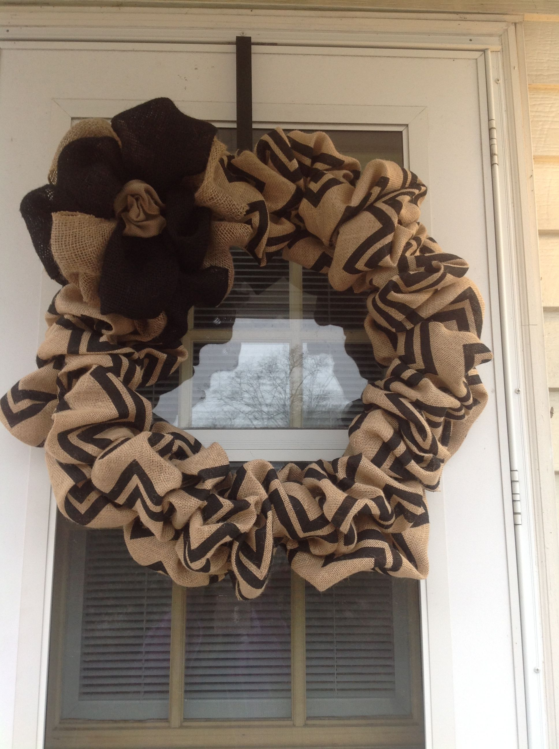 Chevron burlap wreath I just made.