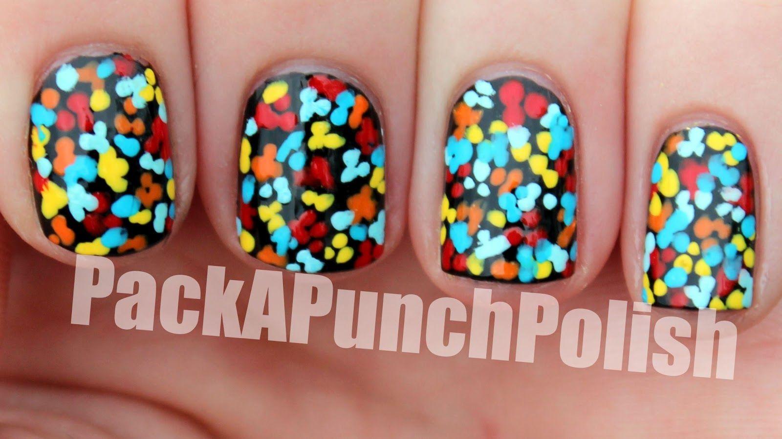 Packapunchpolish Tiny Dotted Floral Nail Art Nails Pinterest