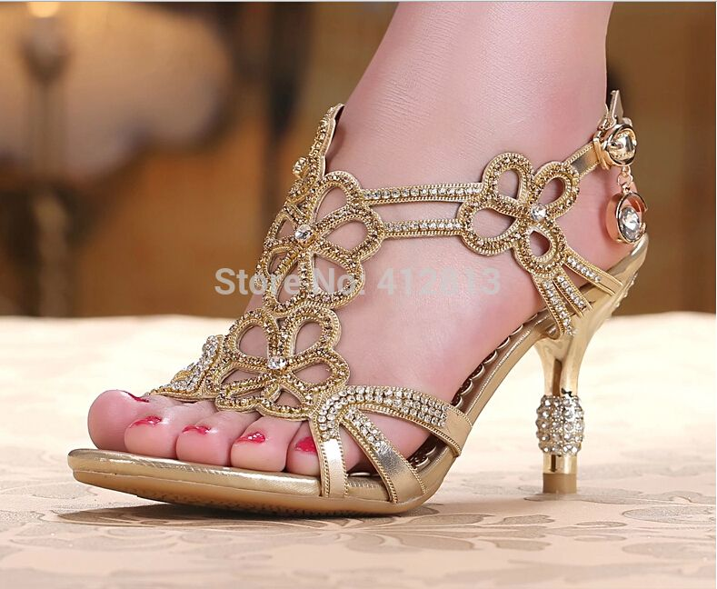 Gold  Blue Sandal Floral Crystal Rhinestones Women Lady Bridal Shoes 8cm High  Heels New High