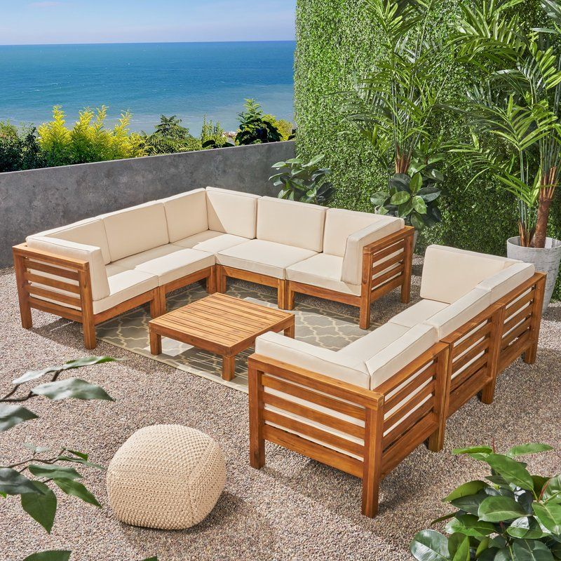 Seaham 9 Piece Teak Sectional Seating Group With Cushions Reviews Joss Main Teak Patio Furniture Backyard Furniture Wood Patio Furniture