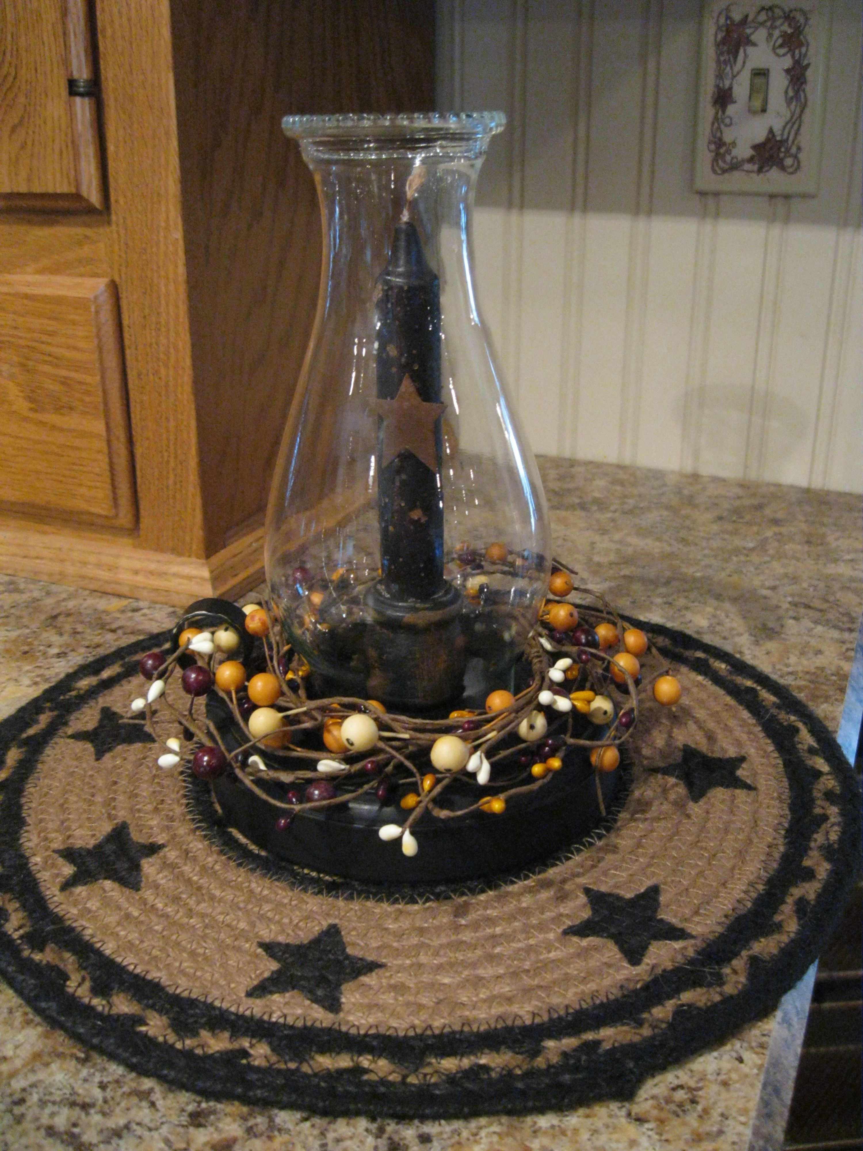 Primitive early lighting candle gathering centerpiece