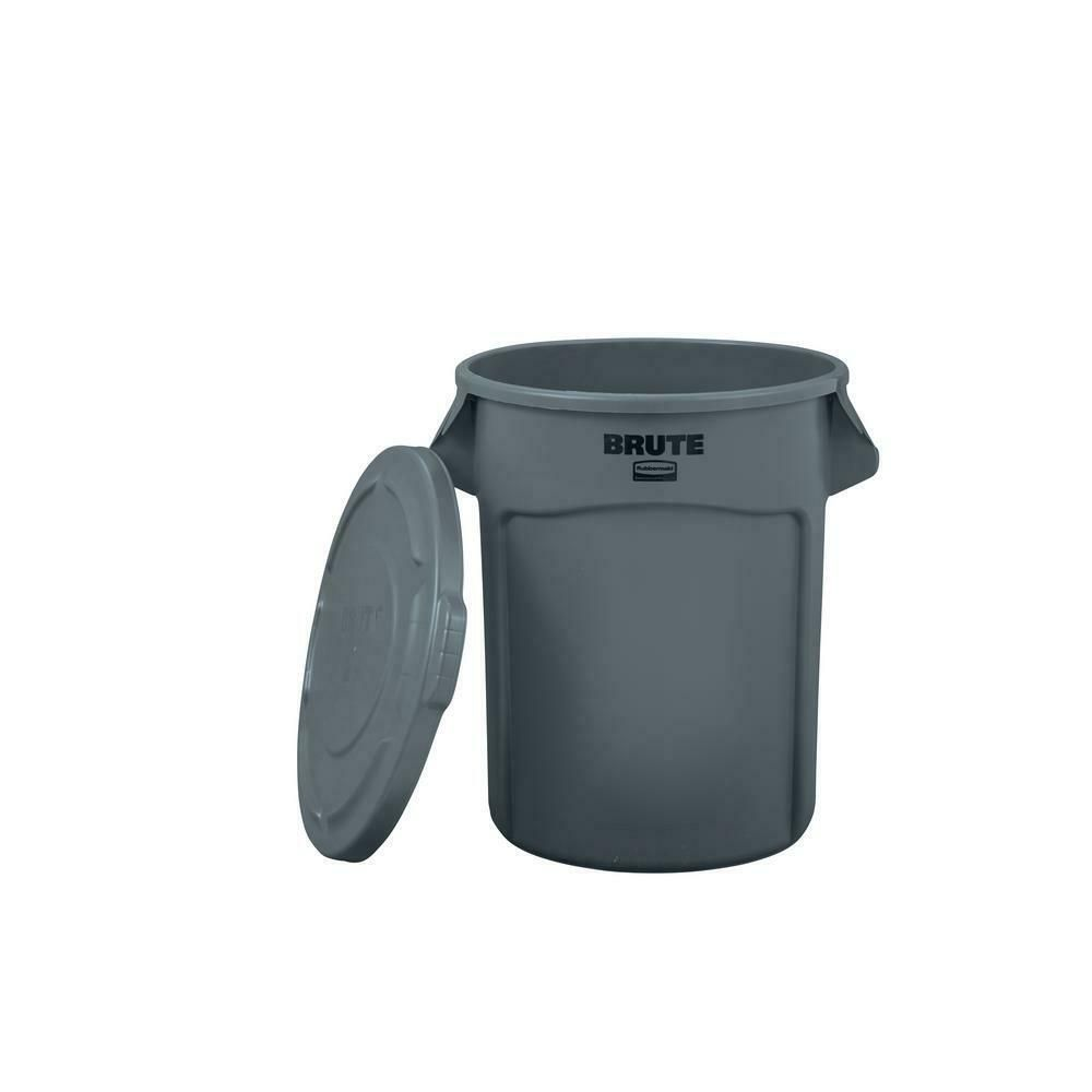 Rubbermaid Brute 20 Gal Grey Round Trash Can Garbage Storage With Lid In 2020 Rubbermaid Commercial Products Trash Can Rubbermaid