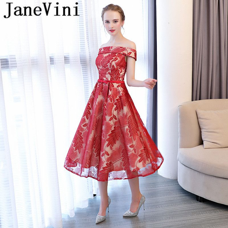 JaneVini Graceful Long Bridesmaid Dresses For Weddings A Line Floral Print  Lace-up Back Tulle 315609fd13cc