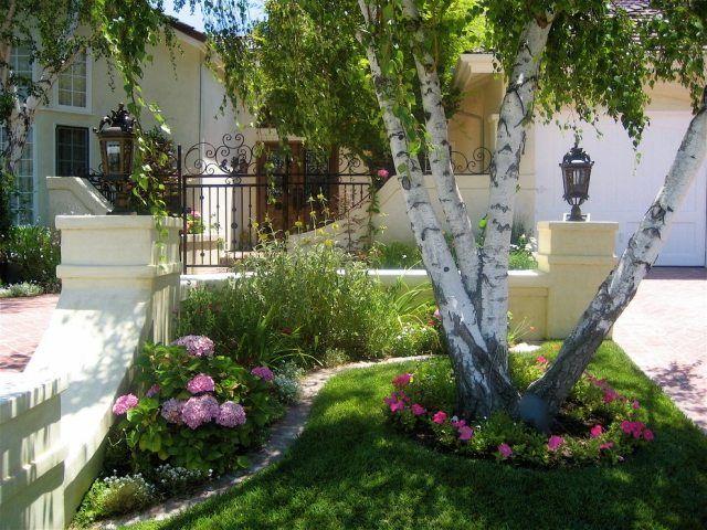 Idee vorgarten gestalten hortensien petunien birke for Idee gartengestaltung