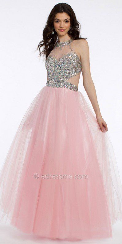 Strike a pose with this stone cluster ball gown prom dress by ...