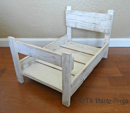 Photo Prop Distressed Baby Bed Solid Wood Photography Prop