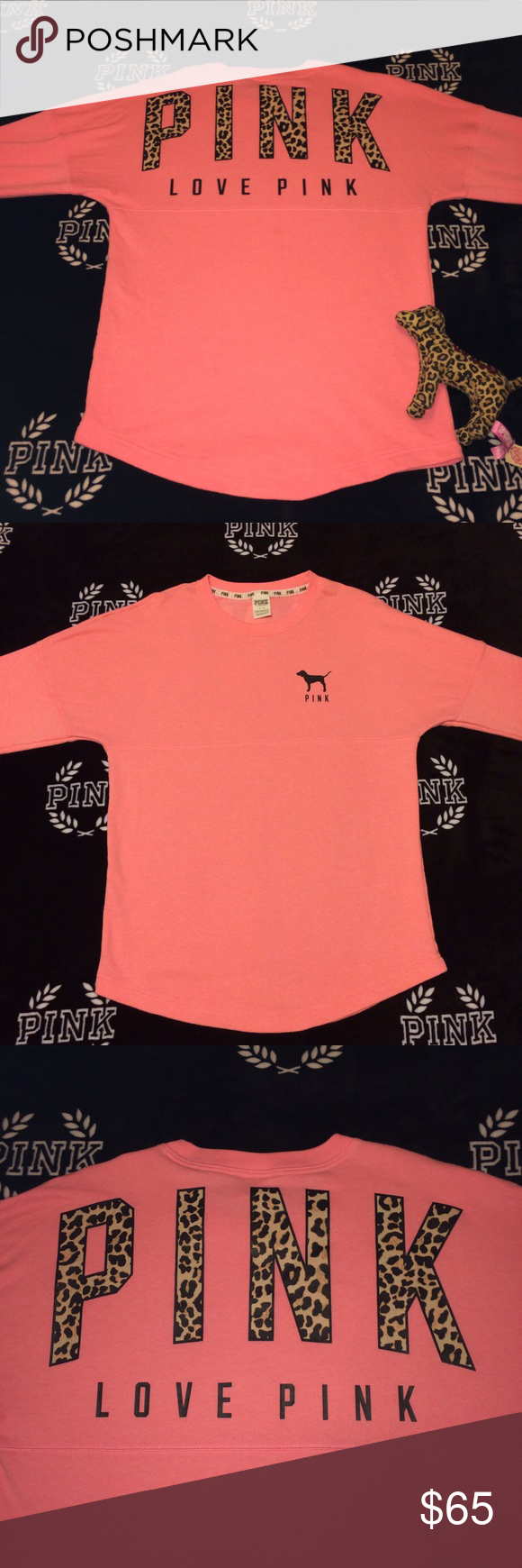vs pink | ✨ Coral Cheetah Crew ✨ RARE EUC Coral Cheetah Crew. NO stains or holes. Slight pilling. Still has TONS of life left! Let me know if you have any questions! ✨ ** dog not included PINK Victoria's Secret Tops Tees - Long Sleeve