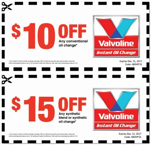Valvoline coupons $10