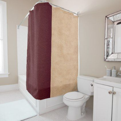 Elegant Burgundy And Tan Faux Leather Shower Curtain