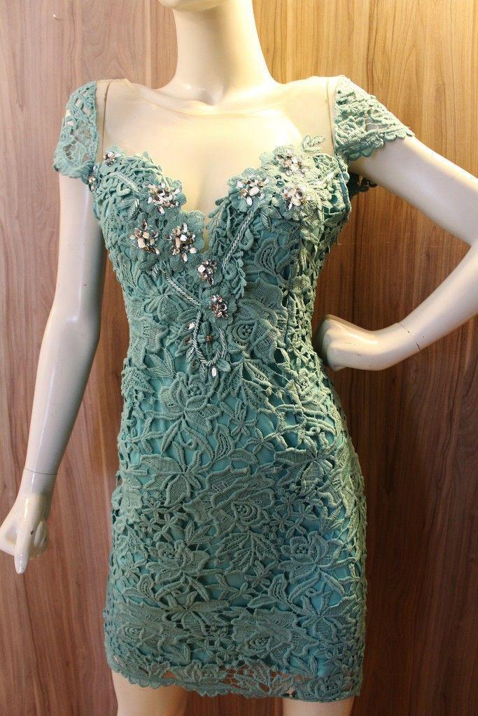 86e9b4224 Vestido curto renda de guipir bordado PROMOÇÃO 50% | Vestidos ...
