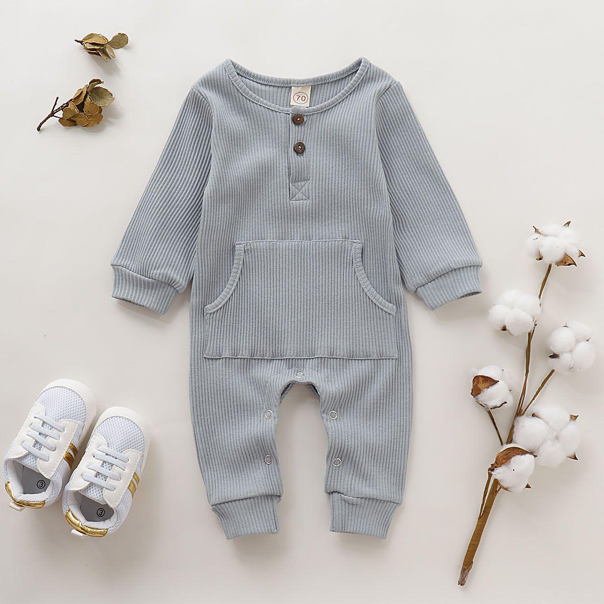 Toddler/ Baby Long Sleeves Pocket Ribbed Jumpsit  European baby