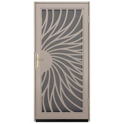 Unique Home Designs Solstice Tan Outswing Security Door With Insect Screen  And Polished Brass Hardware