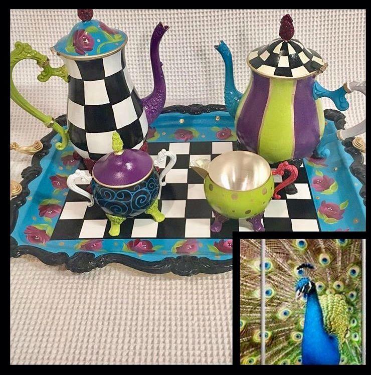 Whimsical painted tea set, silver tea set, painted tea set hand painted home decor #teasets