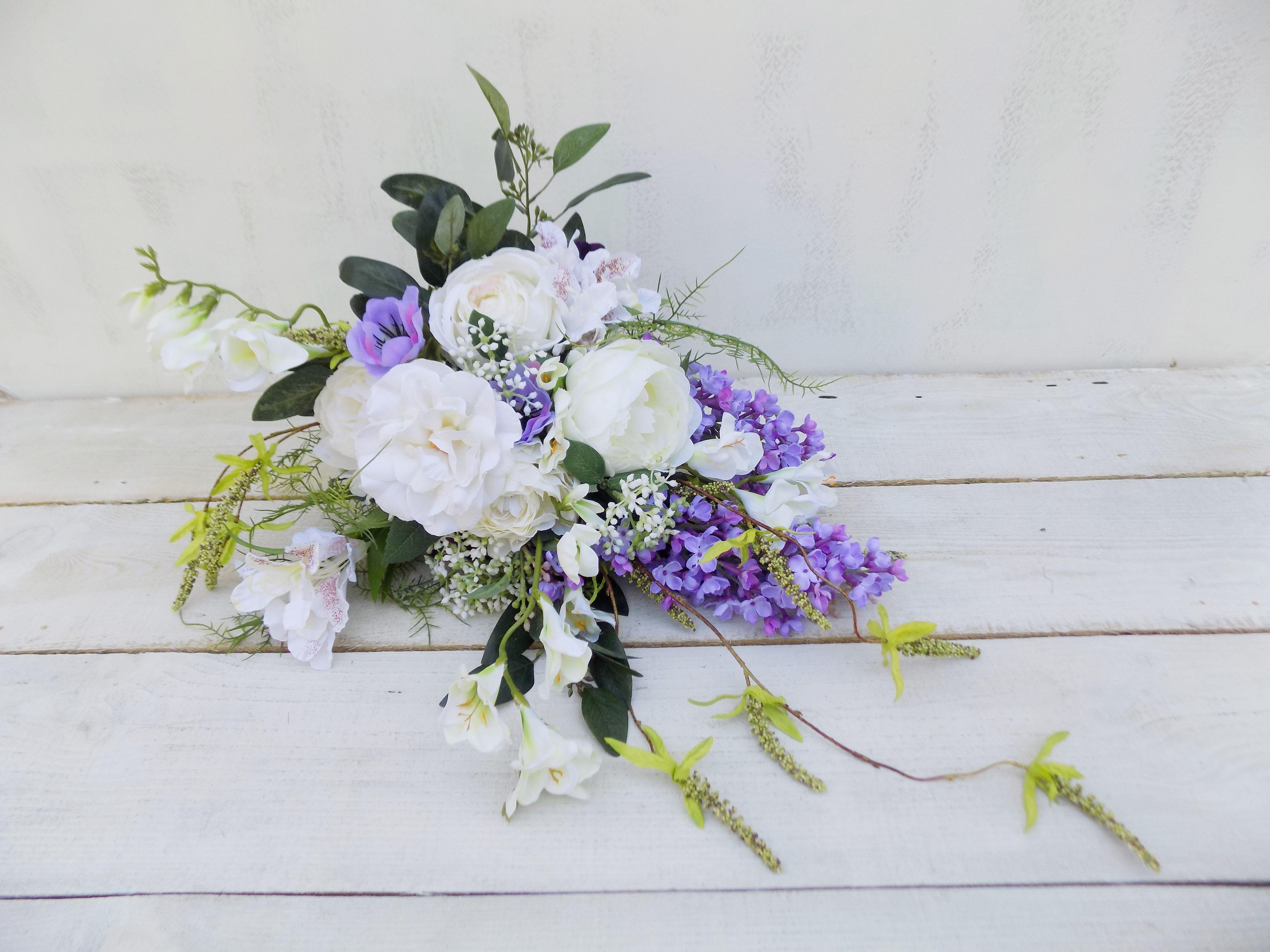 Woodland cascading bridal bouquet peony rose freesia white