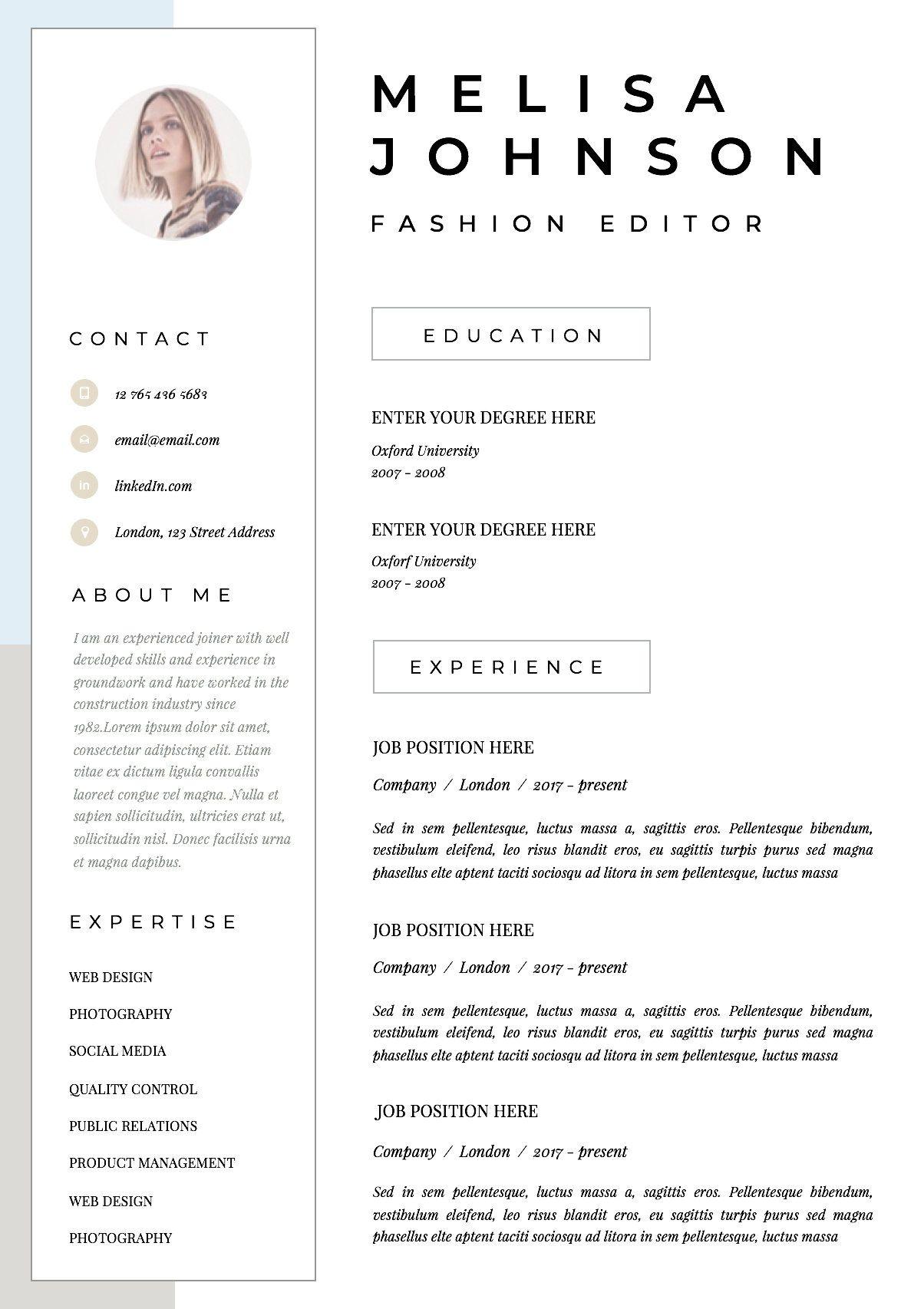 Resume Template Cv Template Resume Cv Design Teacher Etsy Cv Template Cv Design Resume Design Template