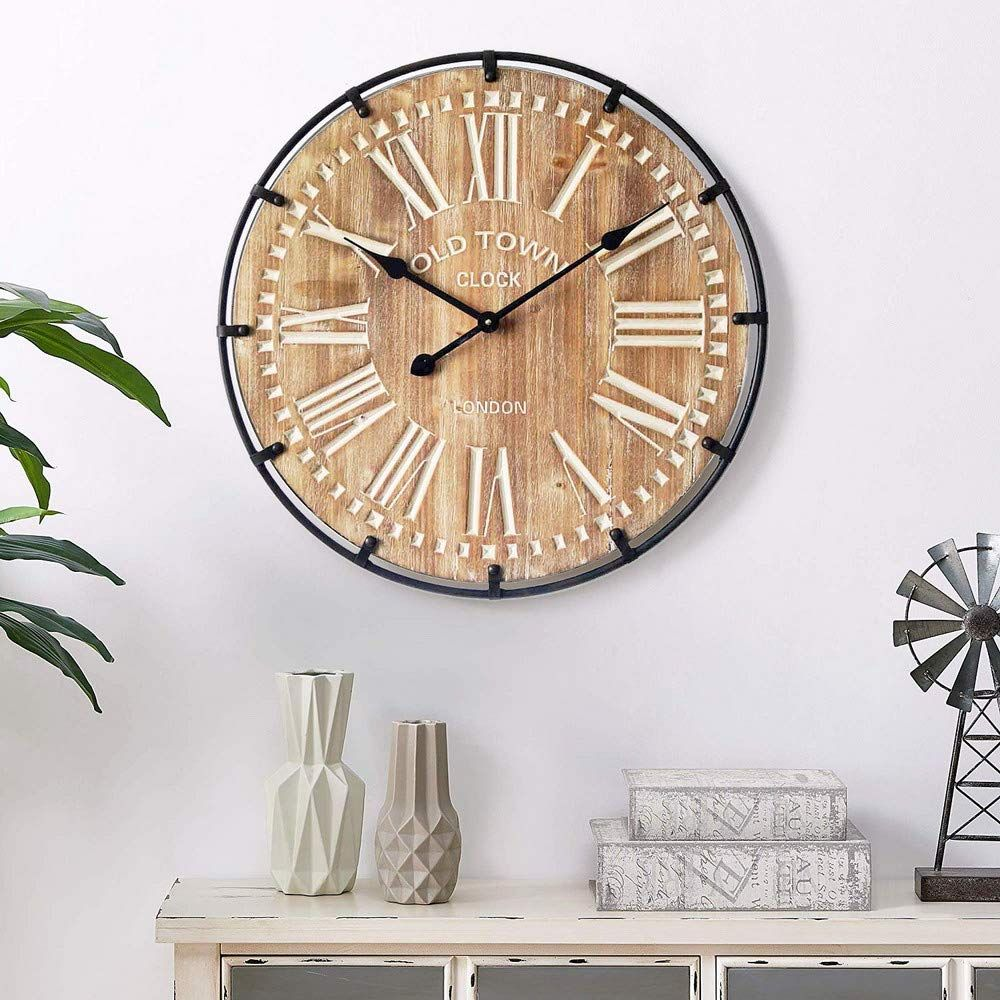 Mode Home Oversized Industrial Wood And Metal Wall Clock Old Town Noiseless Silent Wall Clock 24 Round To Watch Bette Metal Wall Clock Clock Industrial Wood