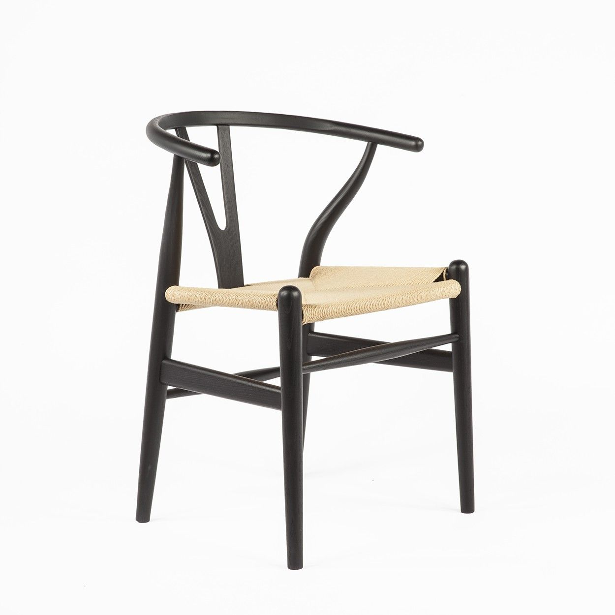 Ch24 wishbone y chair black with natural seat chair