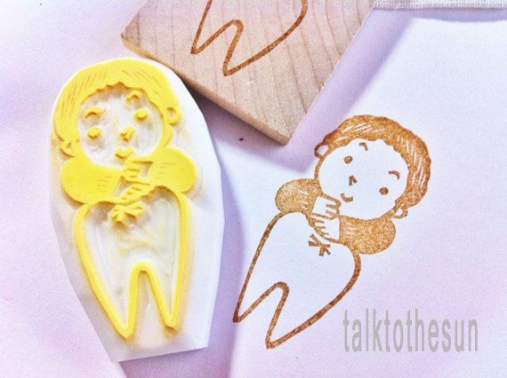 Tooth Fairy Stamp Angel Girl Stamp Hand Carved Rubber Stamp