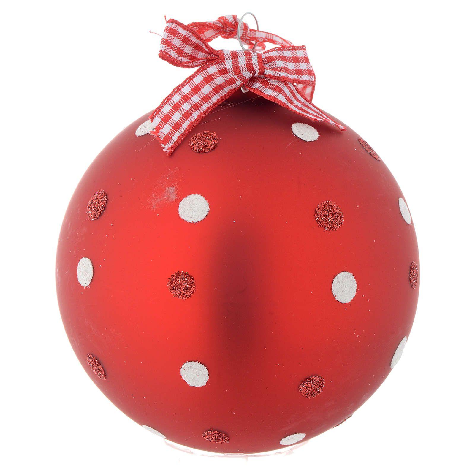 5c259153f0b90 Bola vidrio roja árbol de Navidad 90 mm 4
