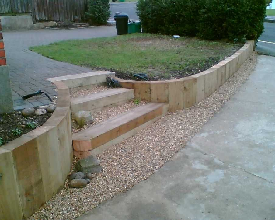 Eddie 39 s sloping garden project with railway sleepers photo for Small sloping garden designs