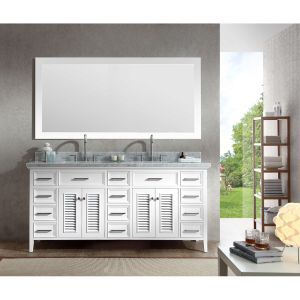"Ariel Bath D073D-WHT 73"" Double Sink Vanity Set"