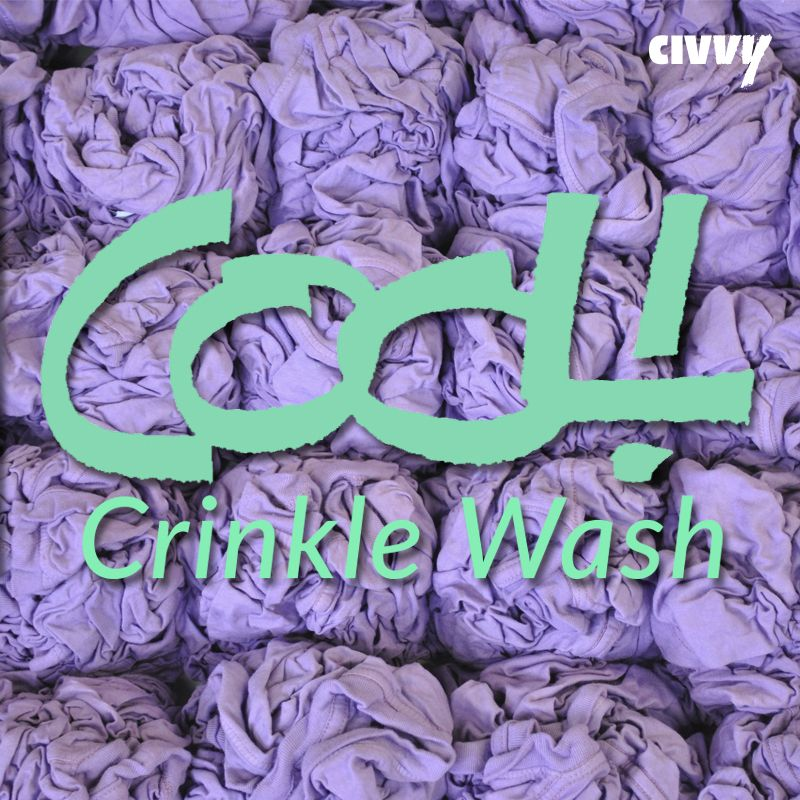 CRINKLE WASH! It gives garments a strong distressed look which looks great with oversized designs! #washes #screenprinting #design #tees #civvy