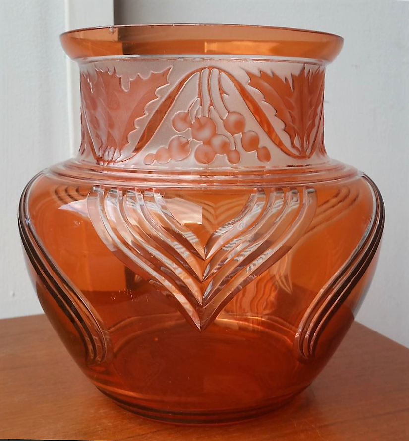 Val St Lambert vase en cristal 'Aurore' - Léon Ledru vers 1905.