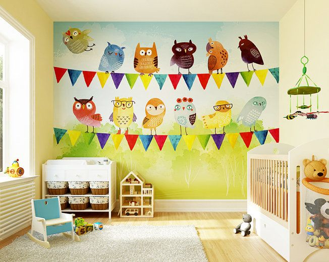 Birds of a Feather Photo Wallpaper Mural | Owl Nursery | Wallpaper ...