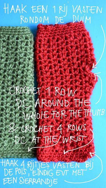 Vingerloze Handschoenen Met Haakpatroon Crochet Pattern Fingerless