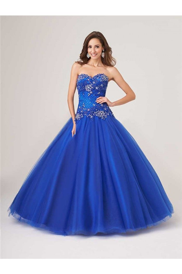 Princess Ball Gown Royal Blue Tulle Lace Beaded Corset Prom Dress ... 549ecf1068e7