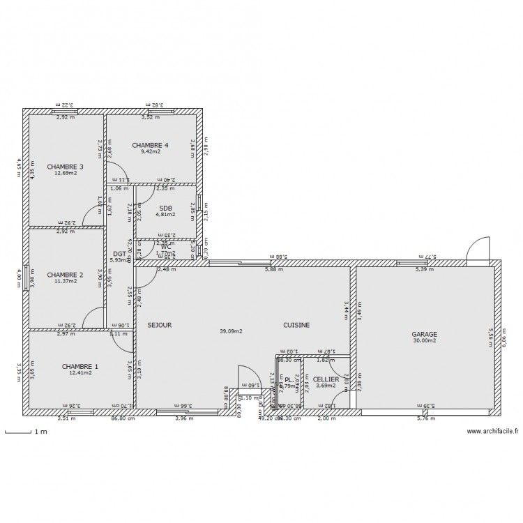 Incroyable Plan maison plain pied 140m2 en 2020 | Plan de maison GI-19