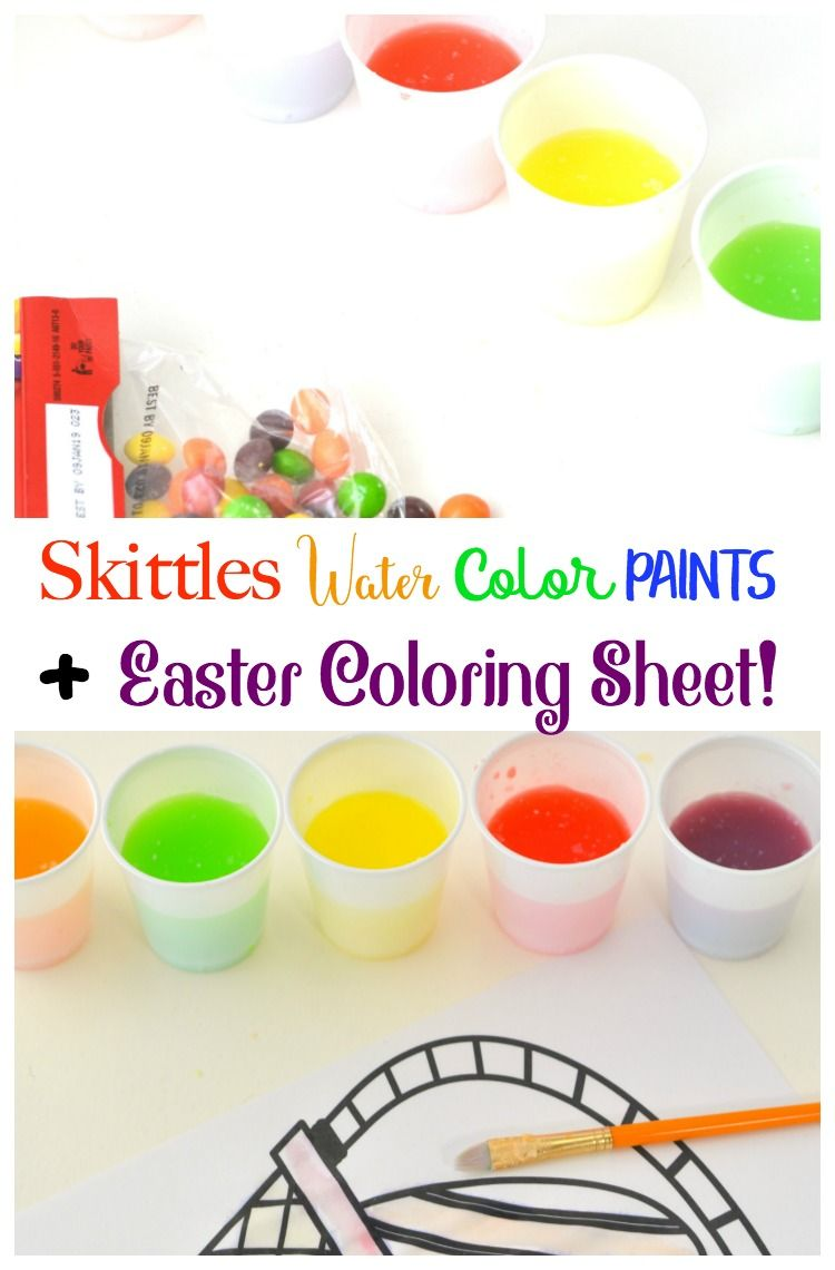 Skittles water color paints easter coloring sheet blog love