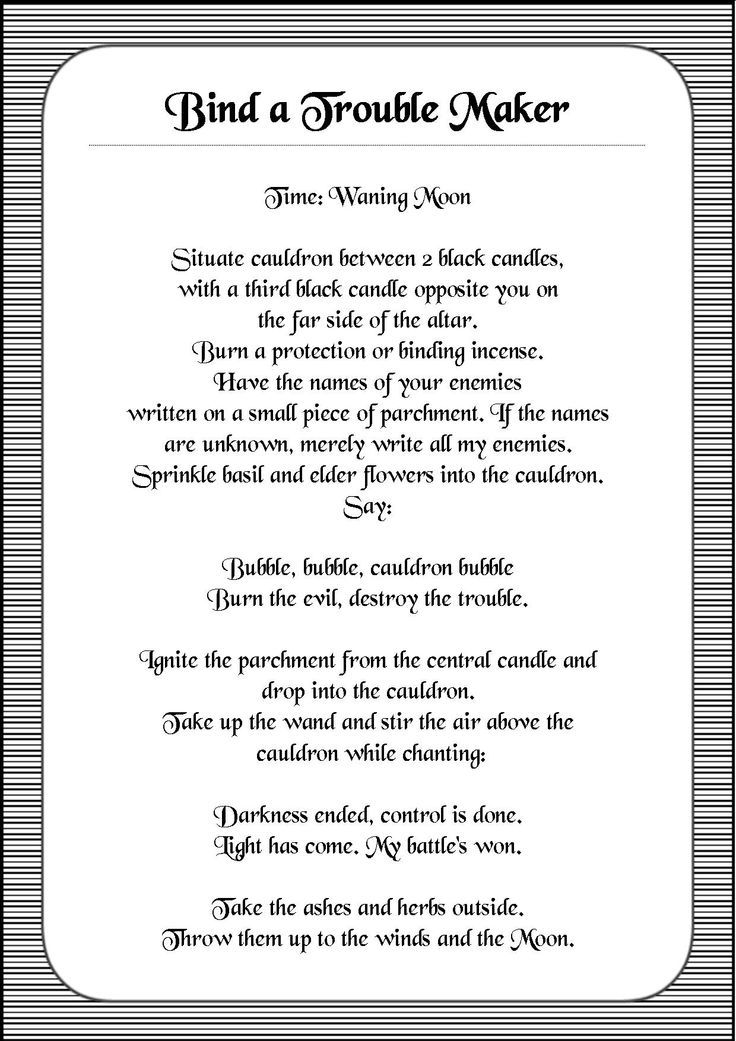 Bind A trouble Maker spells Pinterest Wiccan spells, Magick - spell resume