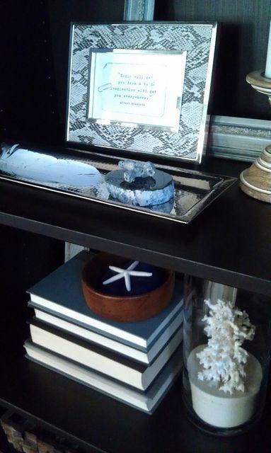 Framed Quote - HG frame - Travel treasures on hammered silver HG tray | Flickr - #HomeGoods #HappyByDesign #NYCLQ Lynda Quintero-Davids #FocalPointStyling #PHX #AZ