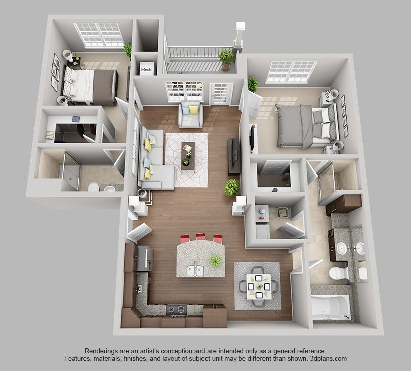The Pointe At Bentonville 2 Bedroom 2 Bath Harmony Floor Plan Sims House Design House Layout Plans Apartment Floor Plan