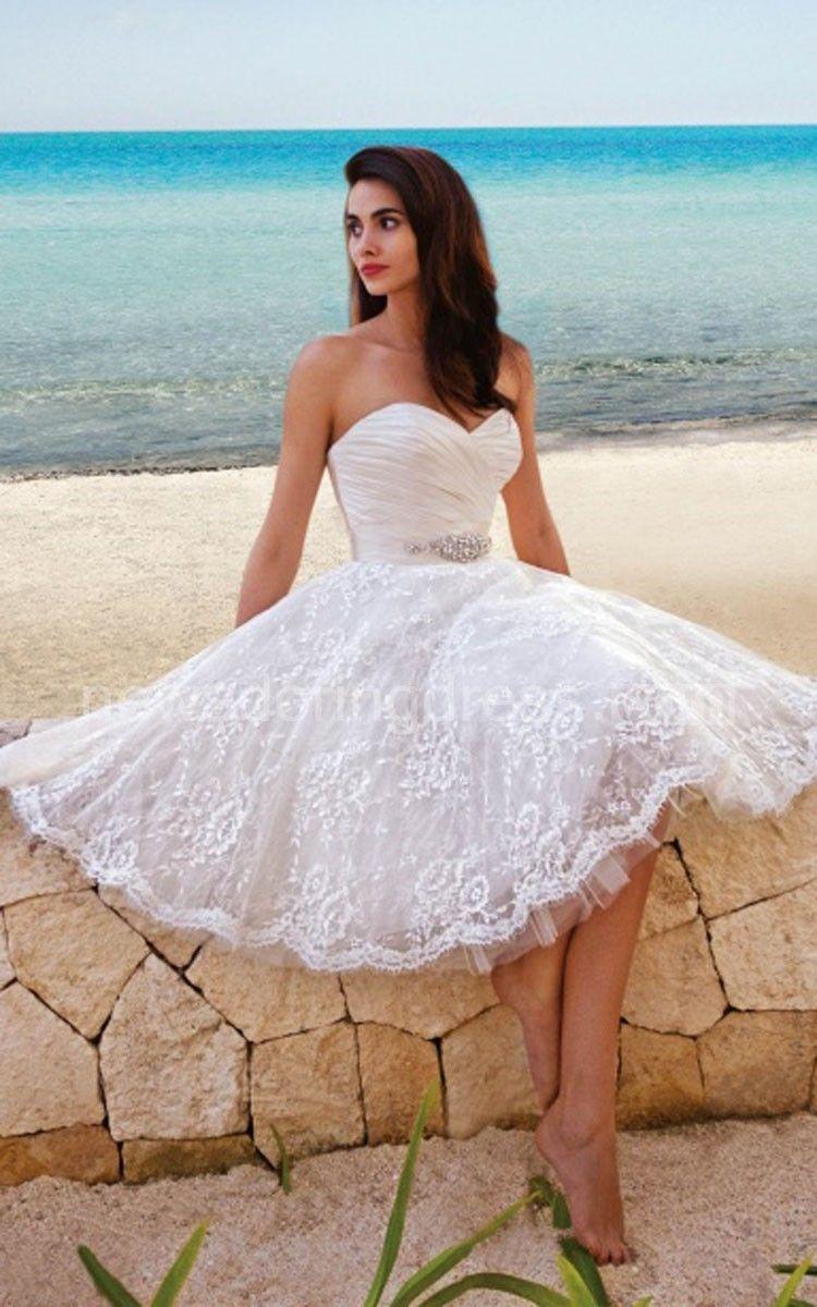Princess style sweety midi wedding dress with sash princess style