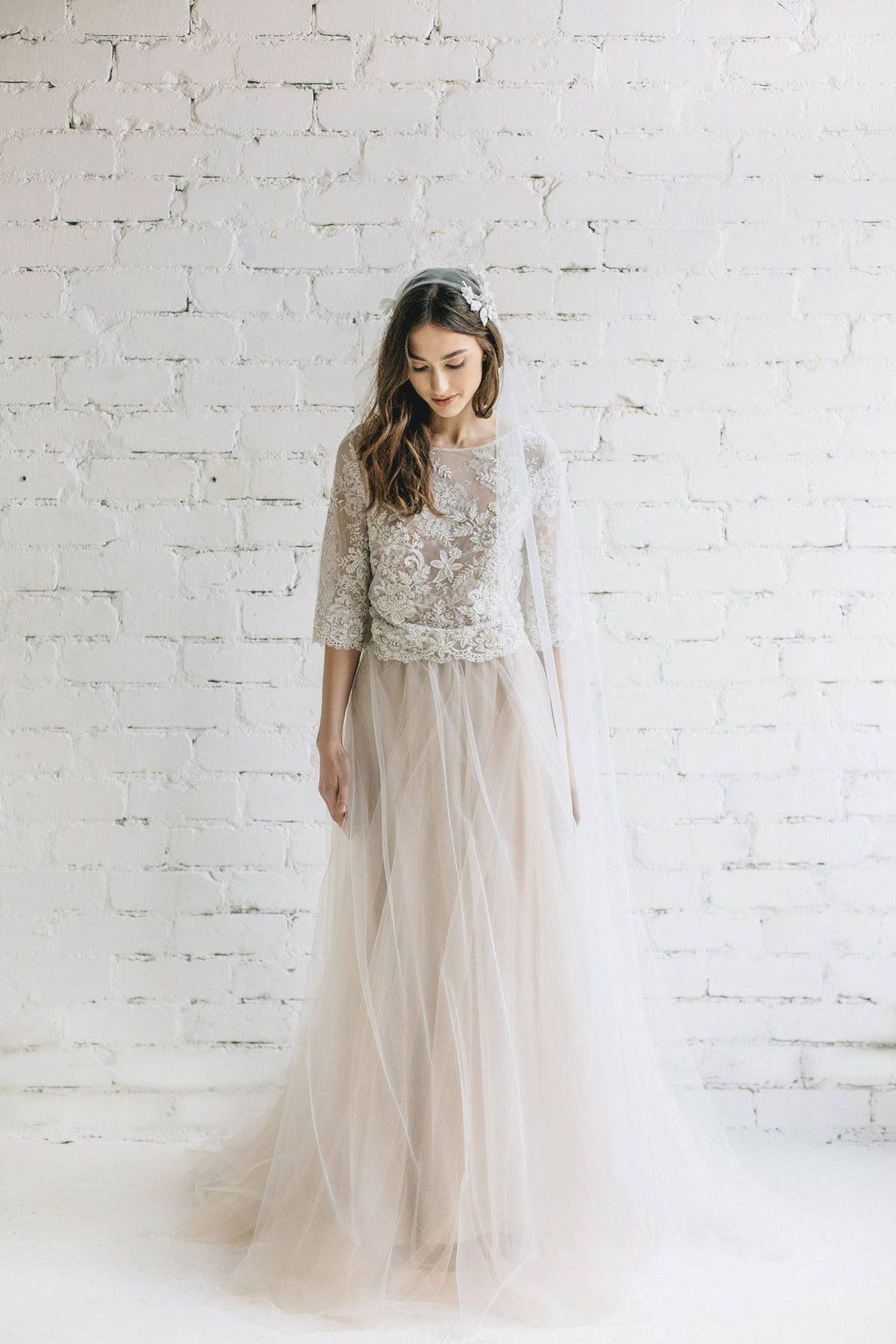 b58670656d Bohemian Wedding Dress in Ivory Lace - PEONY Peony top created of couture  beaded lace and lined with soft thin nude floral french lace .