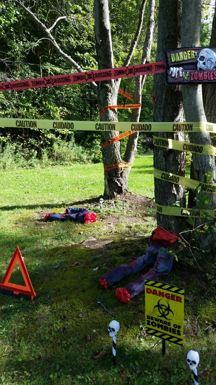Zombie Yard Decorations Half Bos Signs And Caution Tape