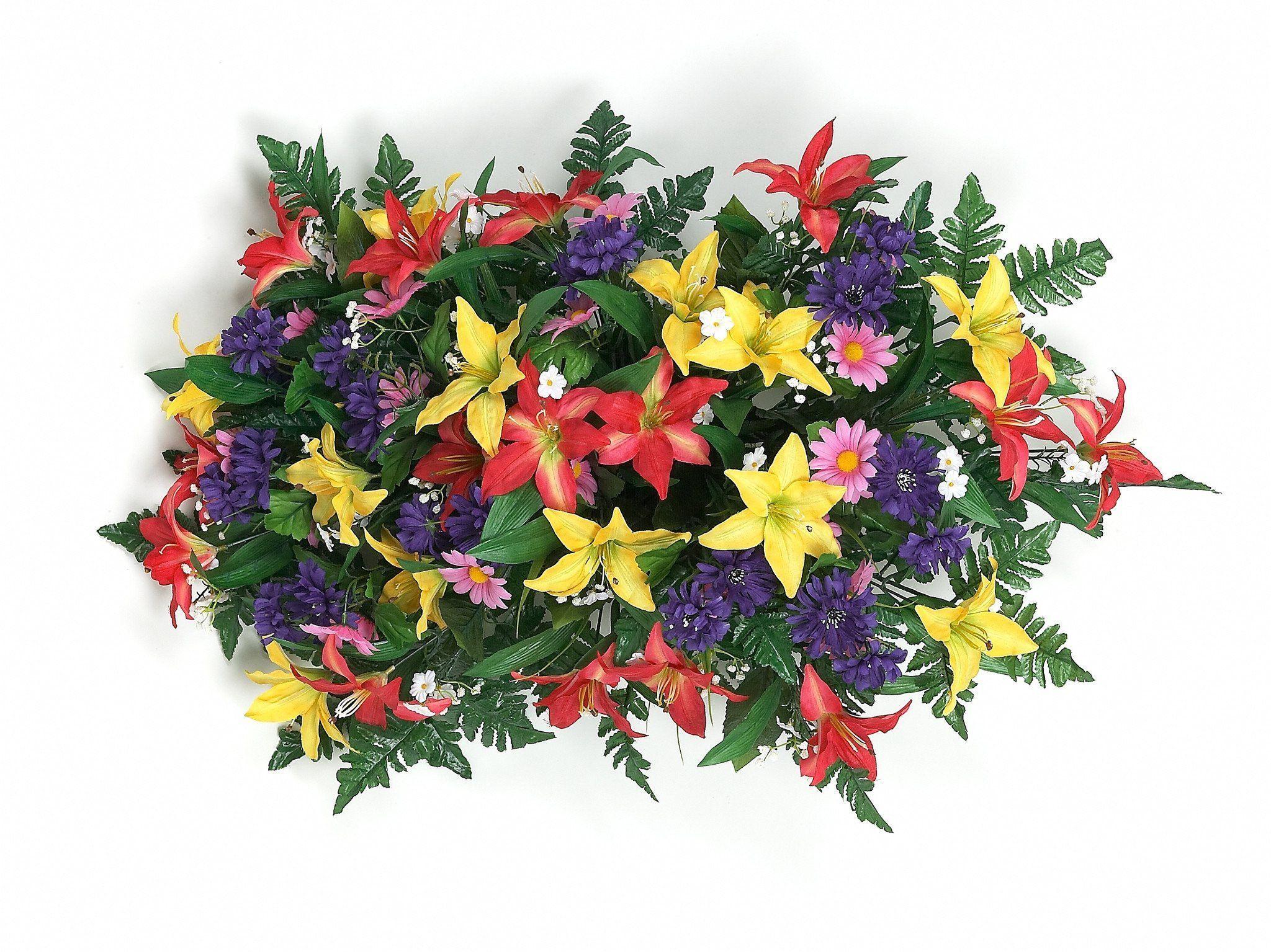 Tiger Lily Headstone Spray With Orangeyellowpurplefuchsia Flowers