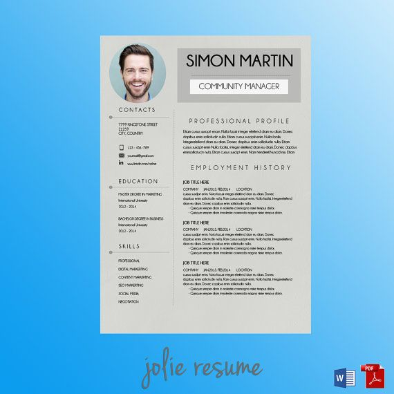 Resume Template SIMON MS Word Easy to Edit by JolieResume - microsoft word 2007 resume template